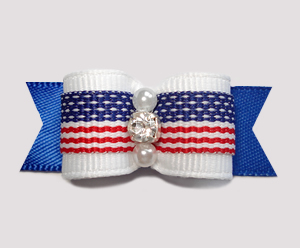 "#0737 - 5/8"" Dog Bow - Stars & Stripes Forever, Rhinestone"