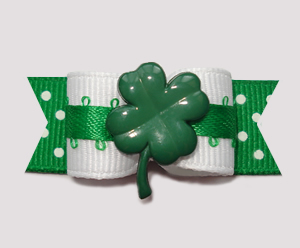 "#0745 - 5/8"" Dog Bow - Lucky Shamrock on Cute Green Dots"