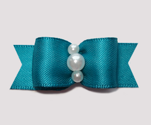 "#0747 - 5/8"" Dog Bow - Satin, Deep Teal, Faux Pearls"