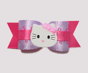 "#0761 - 5/8"" Dog Bow - Sweet Lavender with Pink, Little Kitty"