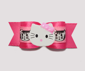 "#0762 - 5/8"" Dog Bow - Kitties Galore, Hot Pink, Little Kitty"