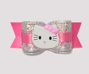 "#0766 - 5/8"" Dog Bow - Party Pink & Silver, Little Kitty"
