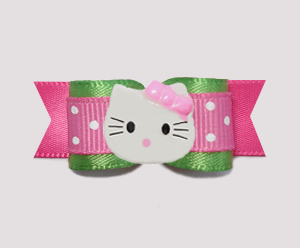 "#0769 - 5/8"" Dog Bow - Fun Flirty Pink with Green, Little Kitty"