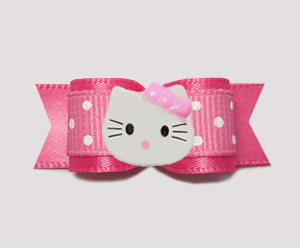 "#0770 - 5/8"" Dog Bow - Pink Sweetheart Dots, Little Kitty"