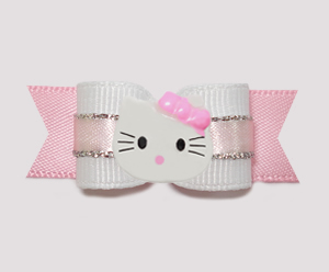"#0774 - 5/8"" Dog Bow - Princess, White/Pink/Silver, Little Kitty"