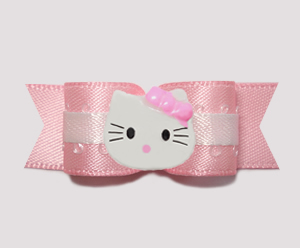"#0775 - 5/8"" Dog Bow - Baby Pink & White with Little Kitty"