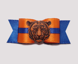 "#0778 - 5/8"" Dog Bow - Orange on Blue, Football's Tiger"