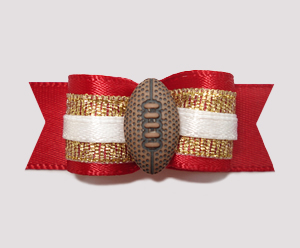 "#0779 - 5/8"" Dog Bow - Football, Scarlet Red & Gold"
