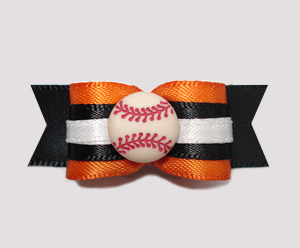 "#0780 - 5/8"" Dog Bow - Baseball, Orange & Black"
