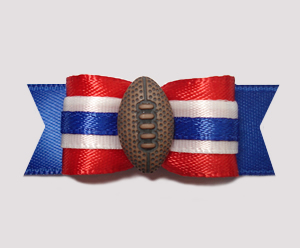"#0781 - 5/8"" Dog Bow - Football, Red & Blue"