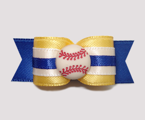 "#0788 - 5/8"" Dog Bow - Baseball, Blue & Golden Yellow"