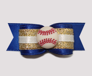 "#0789 - 5/8"" Dog Bow - Baseball, Blue & Gold"