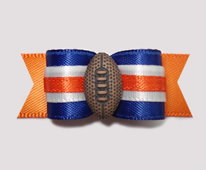 "#0790 - 5/8"" Dog Bow - Football, Blue & Orange"