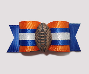 "#0791 - 5/8"" Dog Bow - Football, Orange & Blue"