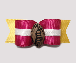 "#0793 - 5/8"" Dog Bow - Football, Maroon & Yellow Gold"