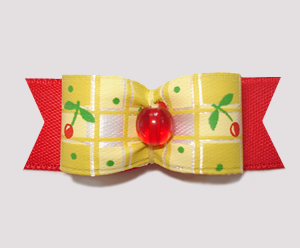 "#0797 - 5/8"" Dog Bow - Sunny Yellow/Red, Cherry Delight"