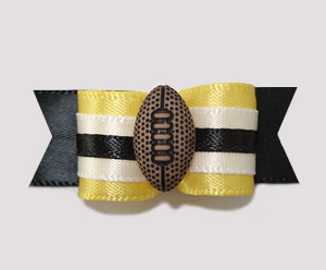 "#0800 - 5/8"" Dog Bow - Football, Yellow/Black/White"