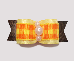 "#0803- 5/8"" Dog Bow - Fall Delight, Candy Corn Plaid, Yellow/Brn"