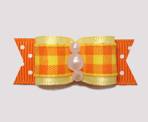 "#0808- 5/8"" Dog Bow- Fall Delight, Candy Corn Plaid, Yellow/Dots"