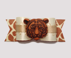"#0818 - 5/8"" Dog Bow - Safari, Ivory/Tan Satin w/Giraffe, Tiger"