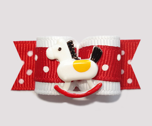 "#0819 - 5/8"" Dog Bow - Red/White Dots, Sweet Rocking Horse"