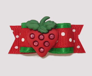 "#0826 - 5/8"" Dog Bow - Green/Red, Delicious Strawberry"