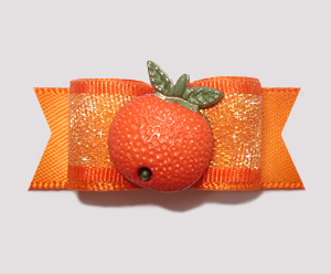 "#0827 - 5/8"" Dog Bow - Fresh Florida Orange, Shimmer"