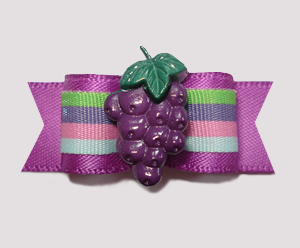 "#0828 - 5/8"" Dog Bow - Groovy Grapes, Fun Stripes"
