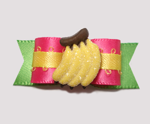 "#0829 - 5/8"" Dog Bow - Tropical Delight, Banana Sparkle"