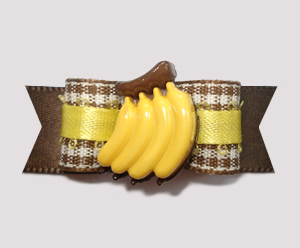 "#0831 - 5/8"" Dog Bow - Fun Banana-rama, Brown Plaid"