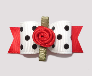 "#0834 - 5/8"" Dog Bow - Adorable Black & White Chic, Red Rosette"