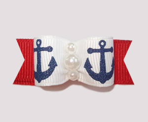 "#0842 - 5/8"" Dog Bow - Sparkly Navy Anchors on Red"