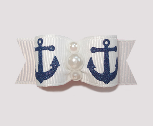 "#0843 - 5/8"" Dog Bow - Sparkly Navy Anchors on White"