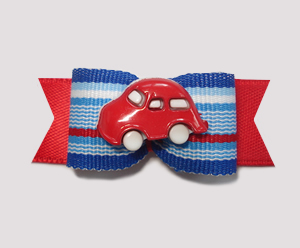 "#0849 - 5/8"" Dog Bow - Fun Red Car, Red/Blue Stripes on Red"