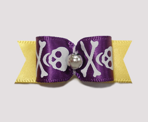 "#0851 - 5/8"" Dog Bow - Skull & Crossbones, Purple & Yellow"