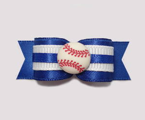 "#0855 - 5/8"" Dog Bow - Baseball, Blue & White"