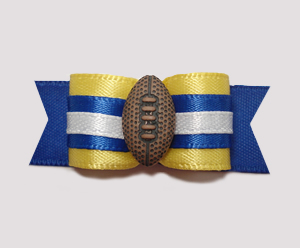 "#0859 - 5/8"" Dog Bow - Football, Yellow with Blue, White"