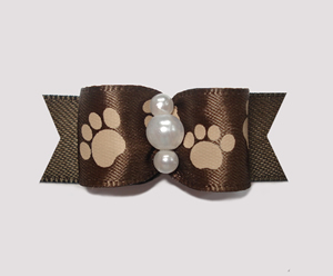 "#0885 - 5/8"" Dog Bow - Pawsitively Cute Paws, Chocolate Brown"