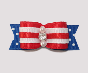 "#0892 - 5/8"" Dog Bow - Red, White & Blue w/Dots, Rhinestone"