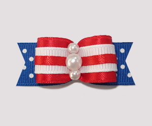 "#0893 - 5/8"" Dog Bow - Red, White & Blue w/Dots, Faux Pearls"