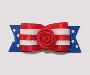"#0894 - 5/8"" Dog Bow - Red, White & Blue w/Dots, Red Rose"