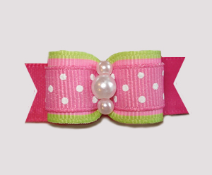 "#0895 - 5/8"" Dog Bow - Sweet Lime & Pink with Cute Tiny Dots"