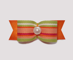 "#0915 - 5/8"" Dog Bow - Citrus Stripes on Orange, Faux Pearl"