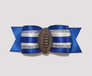 "#0921 - 5/8"" Dog Bow - Football, Blue with Silver & White"