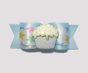 "#0925 - 5/8"" Dog Bow - My Little Cupcake Star, Pale Blue"