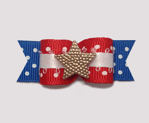 "#0933 - 5/8"" Dog Bow - Patriotic Dots, Red/White/Blue, Star"
