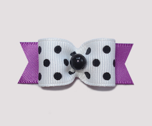 "#0942 - 5/8"" Dog Bow - Chic Black & White Dots w/Orchid Purple"