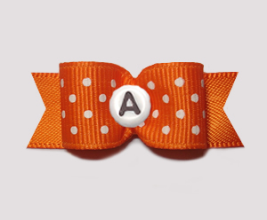 "#0943- 5/8"" Dog Bow- Custom - Orange w/Dots - Choose Your Letter"
