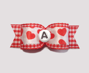 "#0945 - 5/8"" Custom - Red/White Gingham 'n Hearts, Choose Letter"