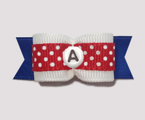 "#0946- 5/8"" Dog Bow- Custom Red/White Dots w/Blue, Choose Letter"